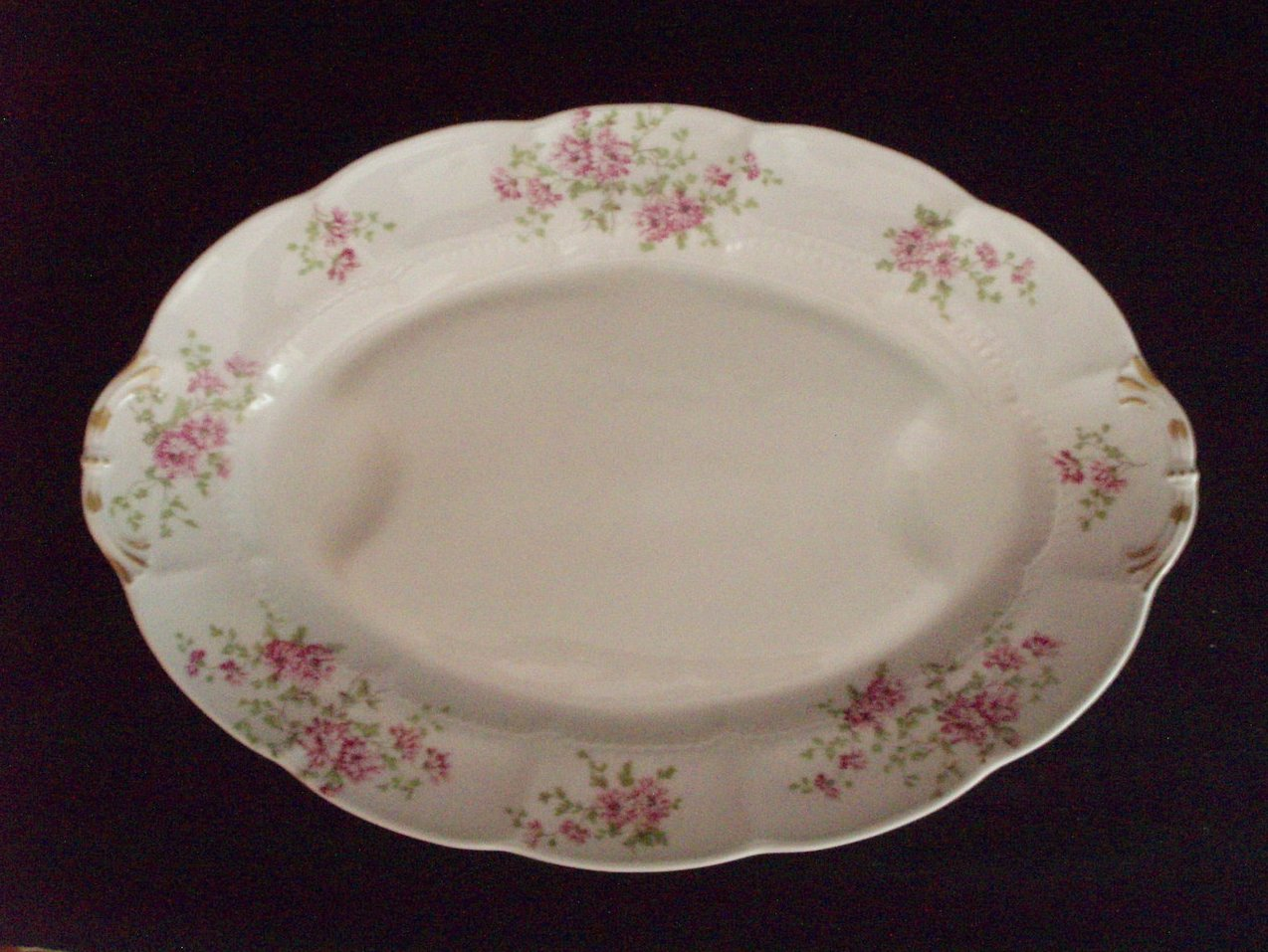 C Ahrenfeldt Depose French Limoges Antique pink floral Platter