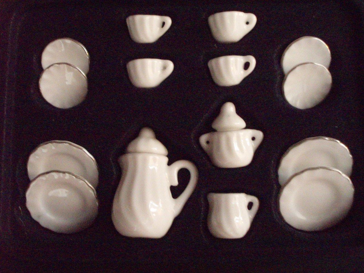 Dollhouse miniature China Ironstone Tea Luncheon set 17 Piece
