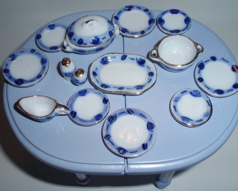 Dollhouse miniature China Ironstone Dinner set 15 Piece blue gold white