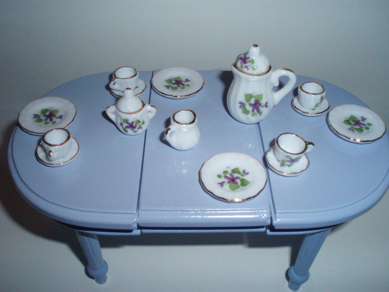 Dollhouse miniature China Ironstone Tea Luncheon set 17 Piece purple flowers