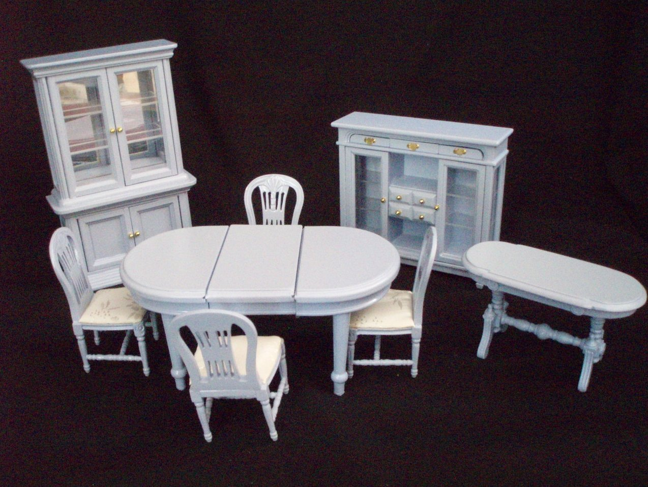 Dollhouse Miniature 8 Pc. Dining room set lilac