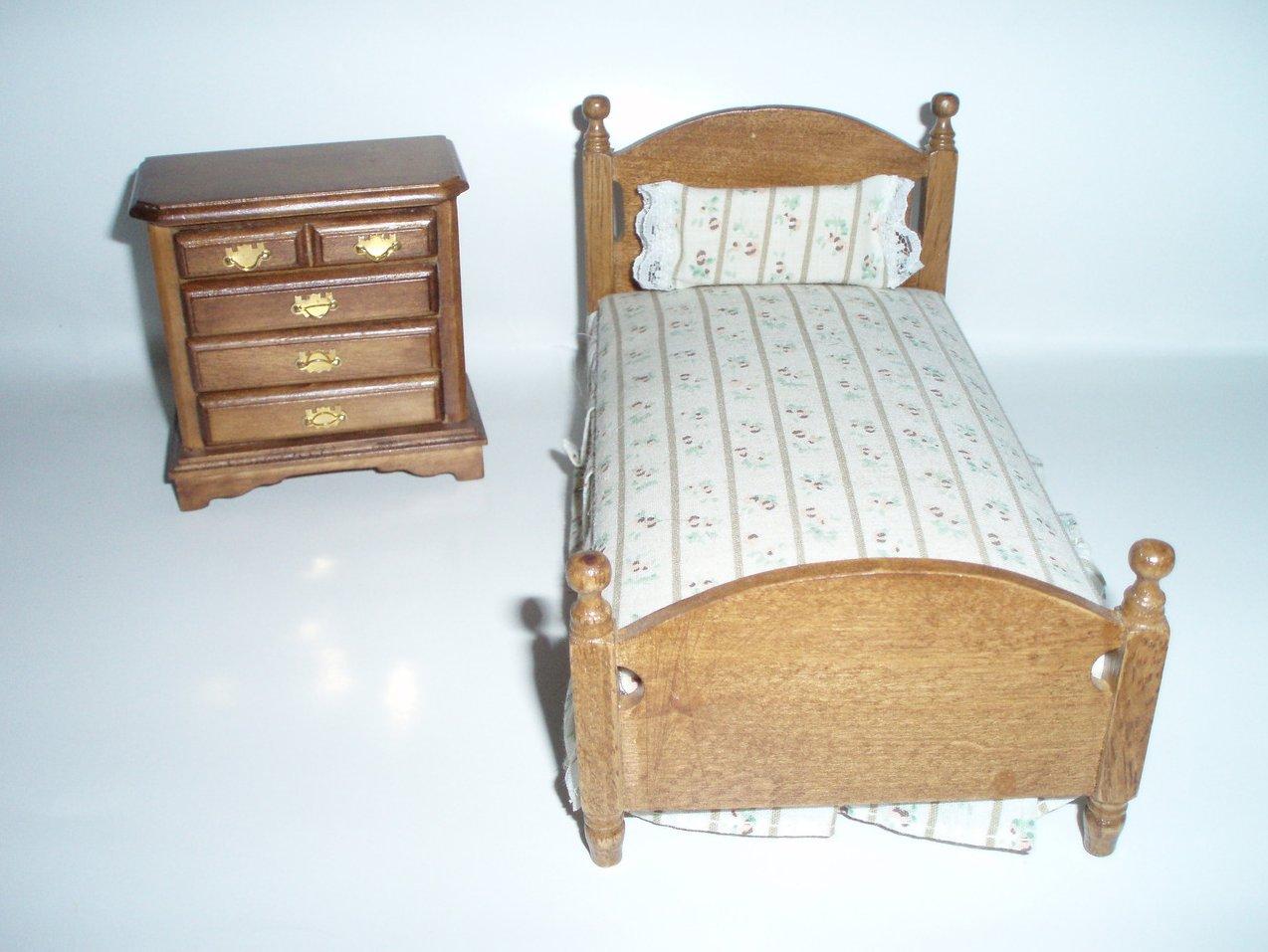 Dollhouse Miniature Bedroom set 2 piece wood