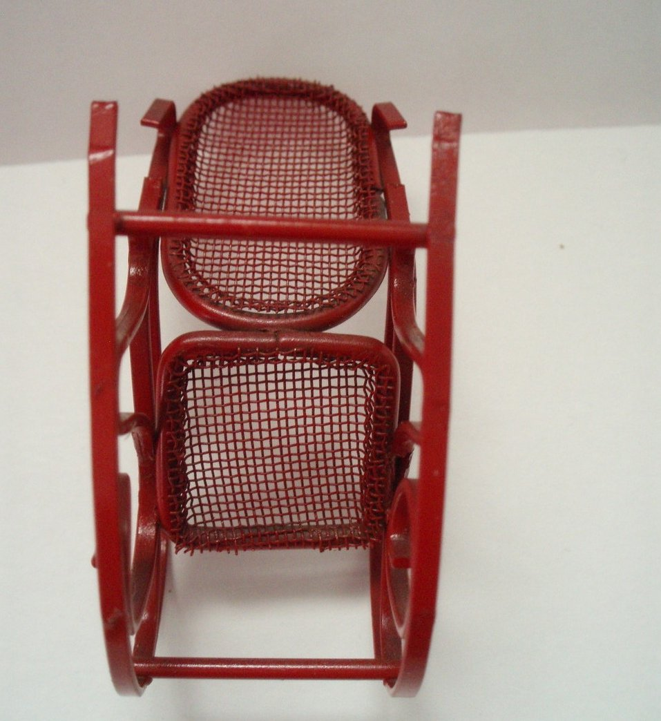 Image 3 of Dollhouse Miniature Childs Red Rocking Chair