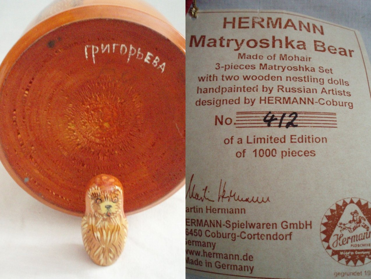 Image 5 of Hermann Spielwaren Matryoshka Bear  Limited Edition