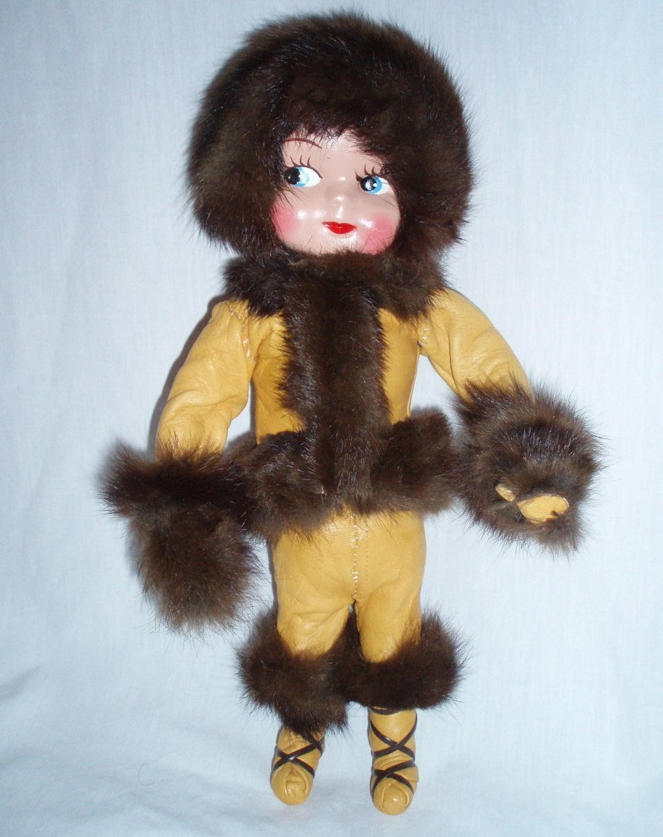 1950 handmade Eskimo Doll deerskin and mink