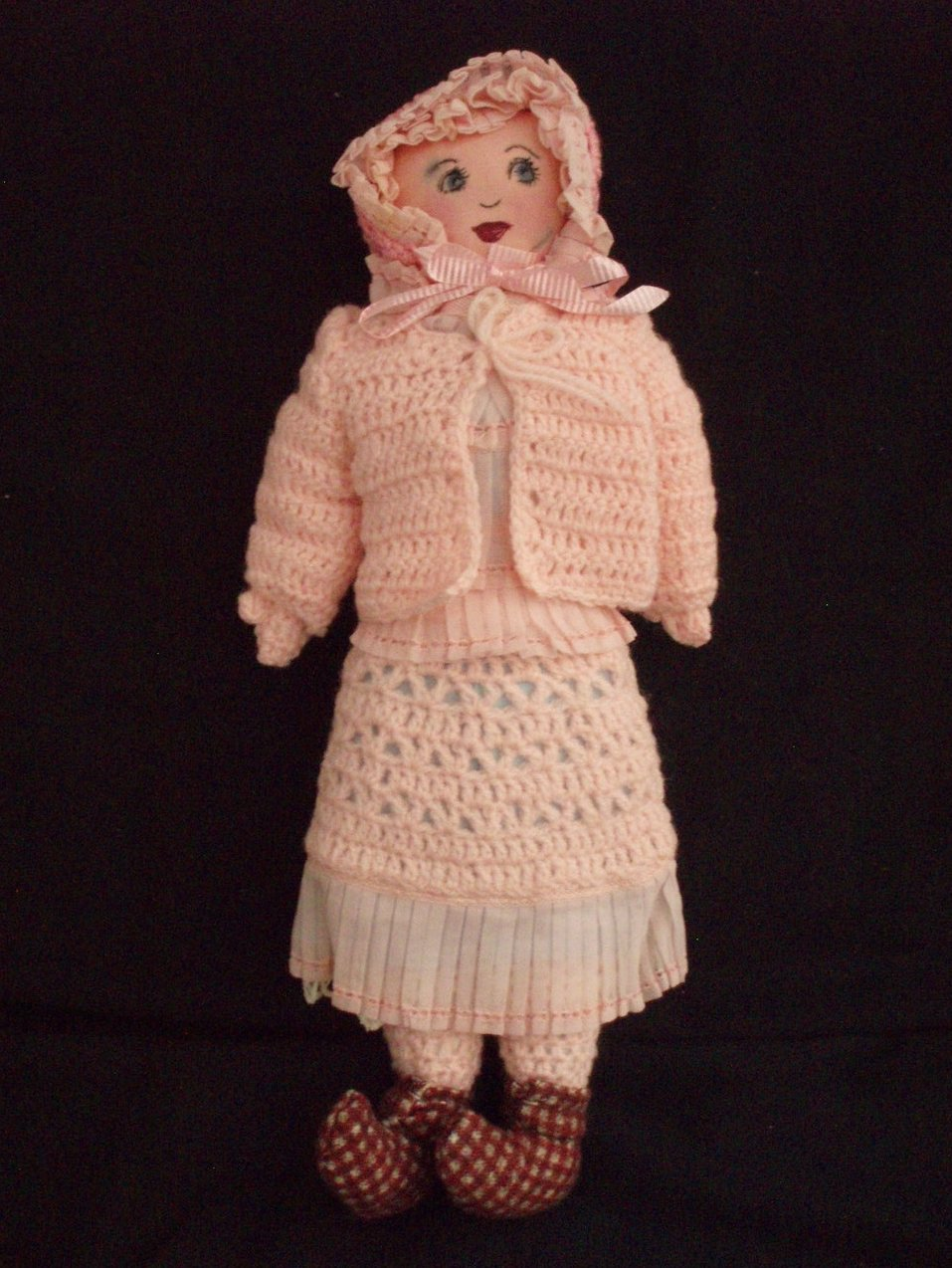 1940 pink cloth handmade doll