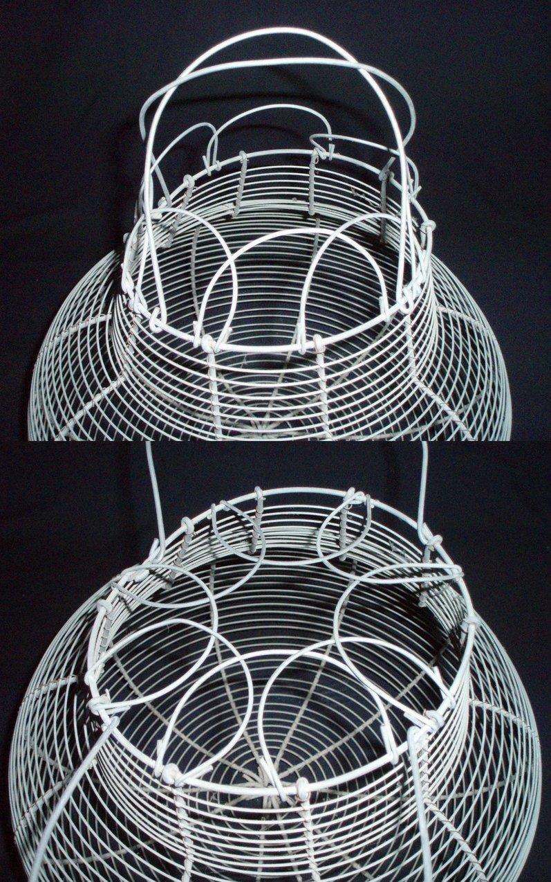 large vintage potbelly wire egg basket