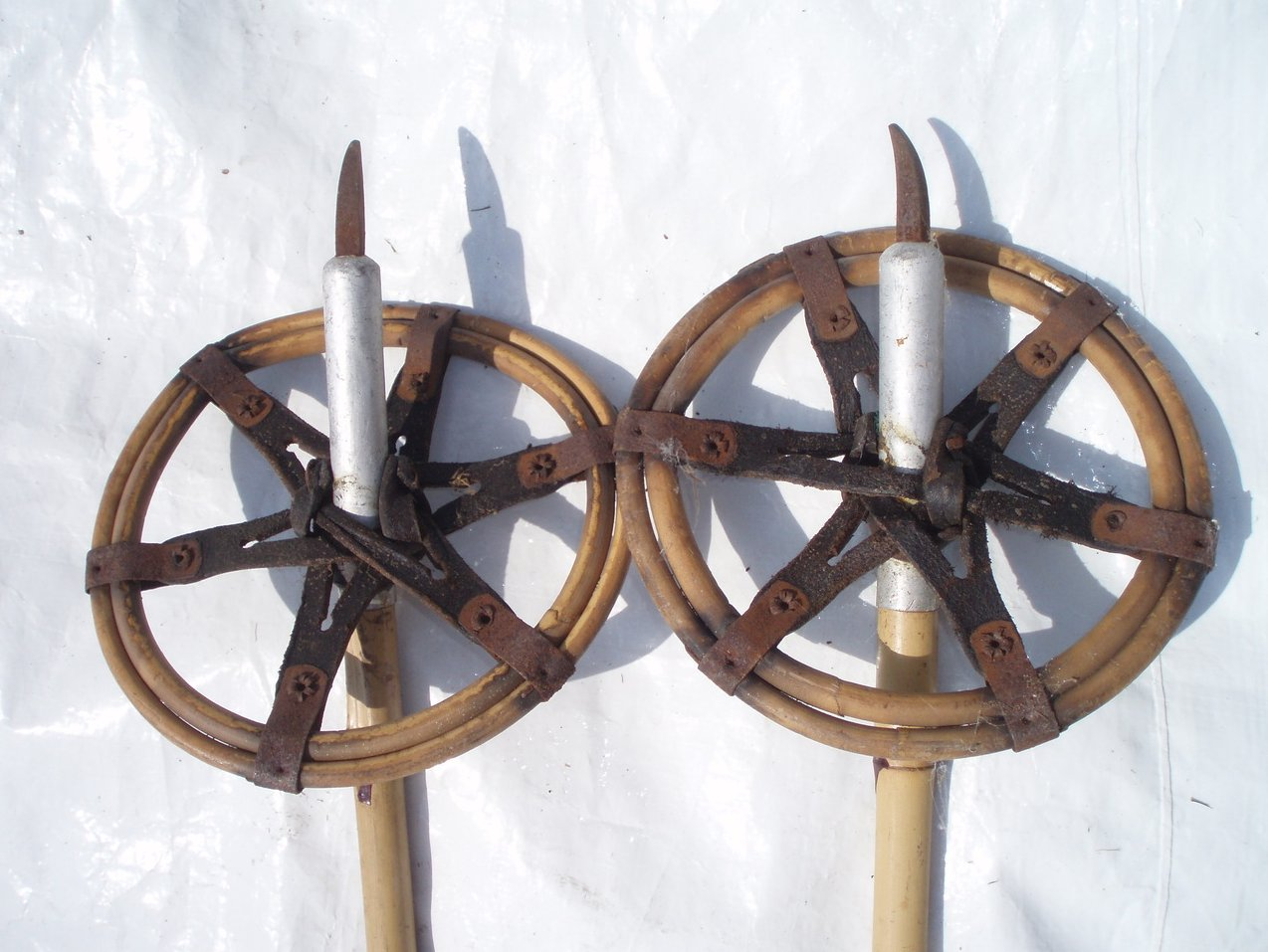 Vintage Bamboo and leather ski poles