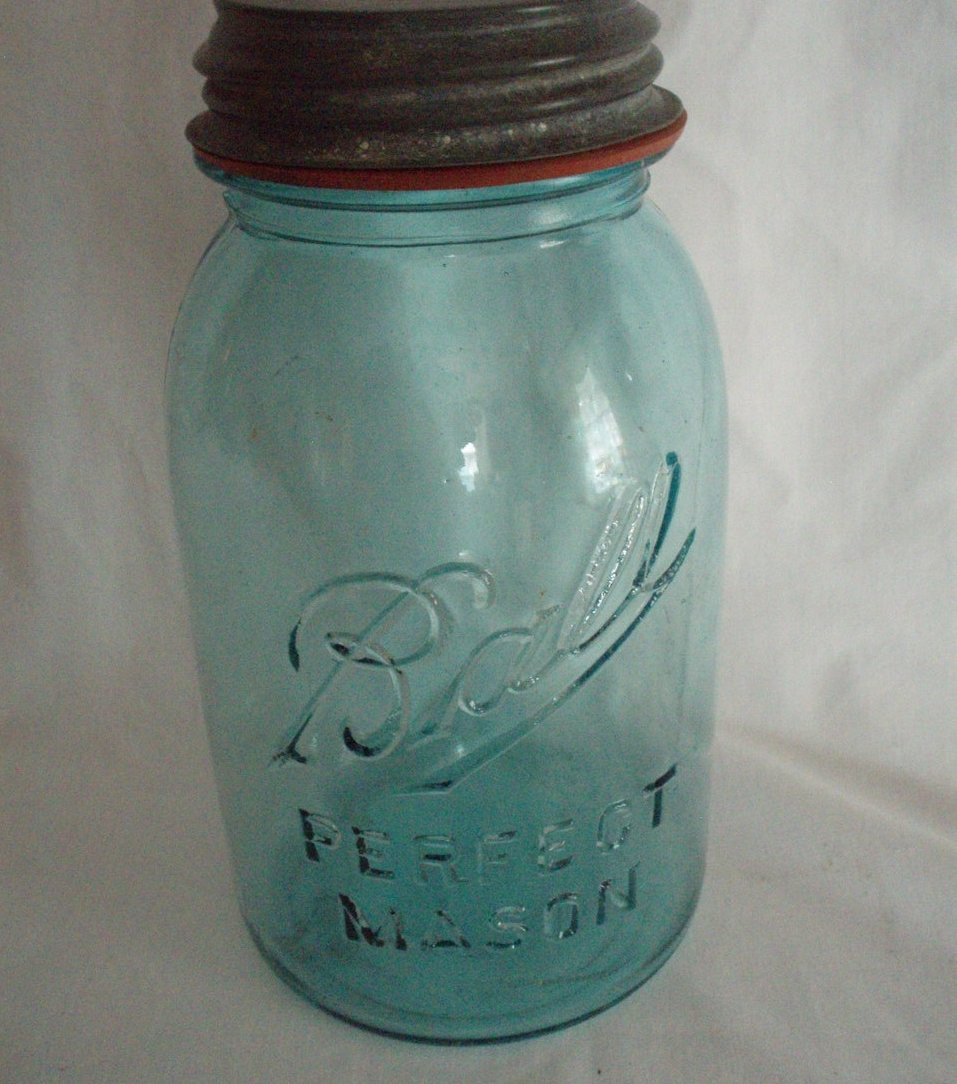 Canning Jar Ball Perfect Mason 2 qt Aqua 11