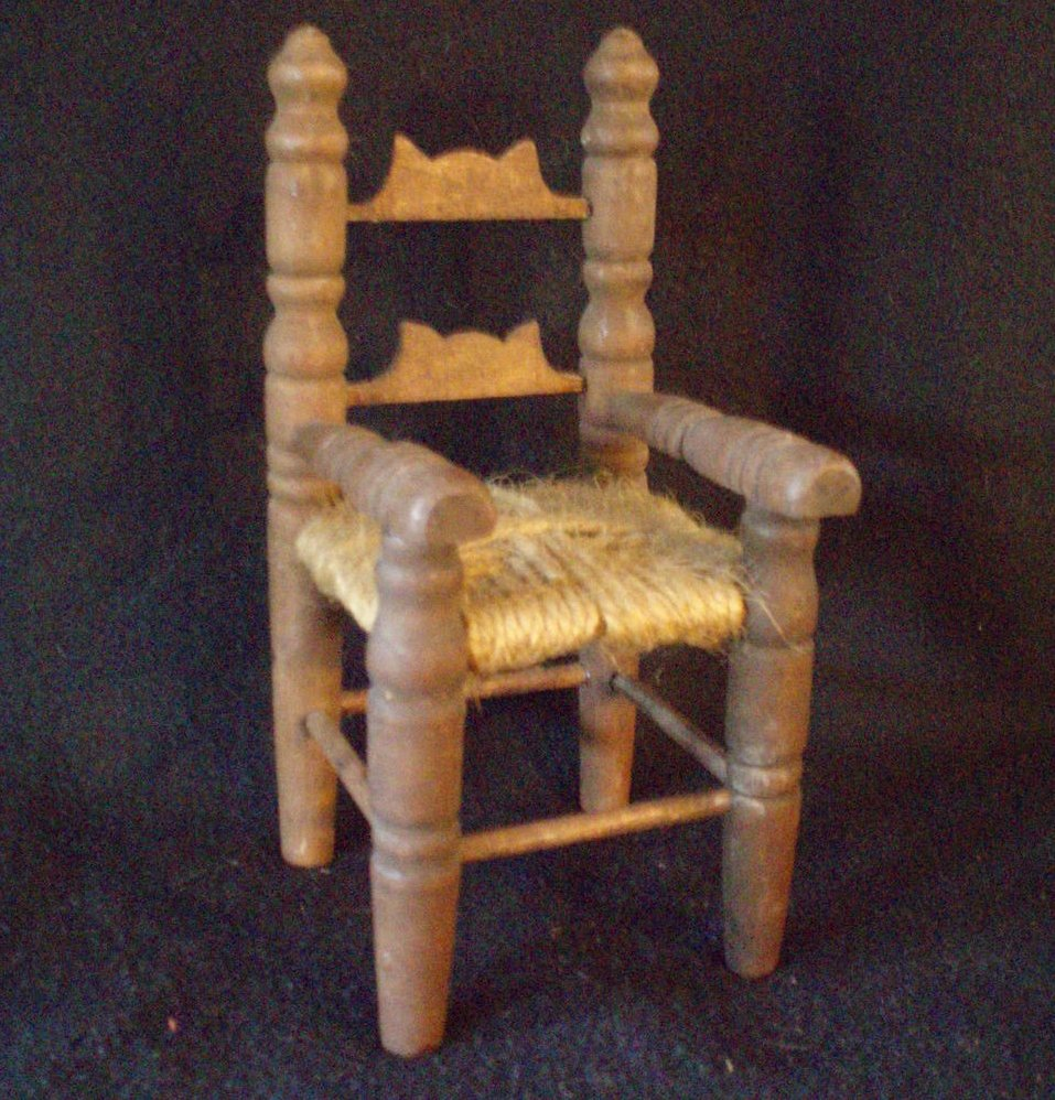 doll chair wood ladder back macrame seat vintage