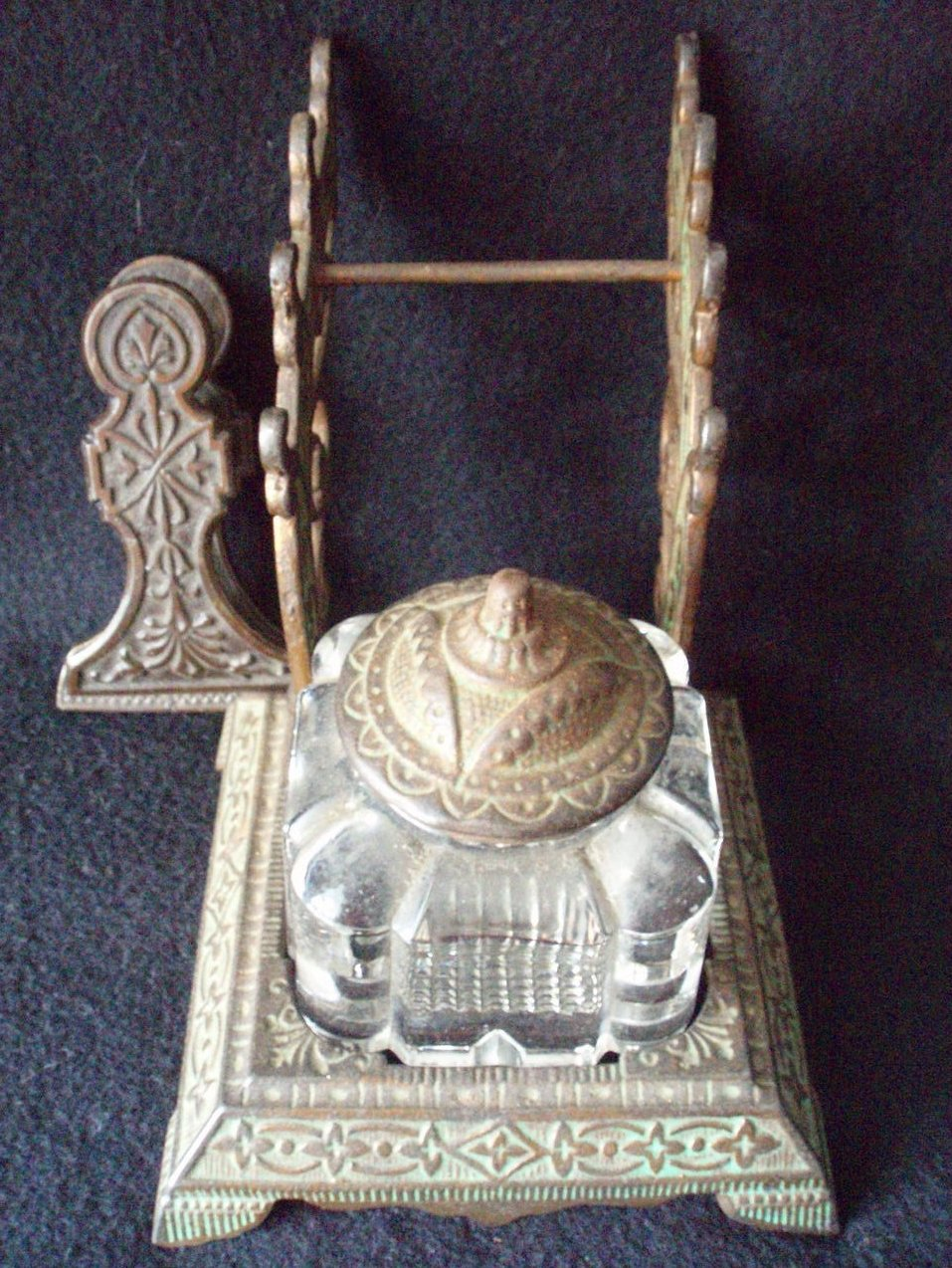 glass inkwell Eastlake stand  clip cover brass