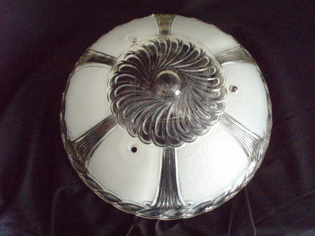 vintage art deco white & clear ceiling light shade