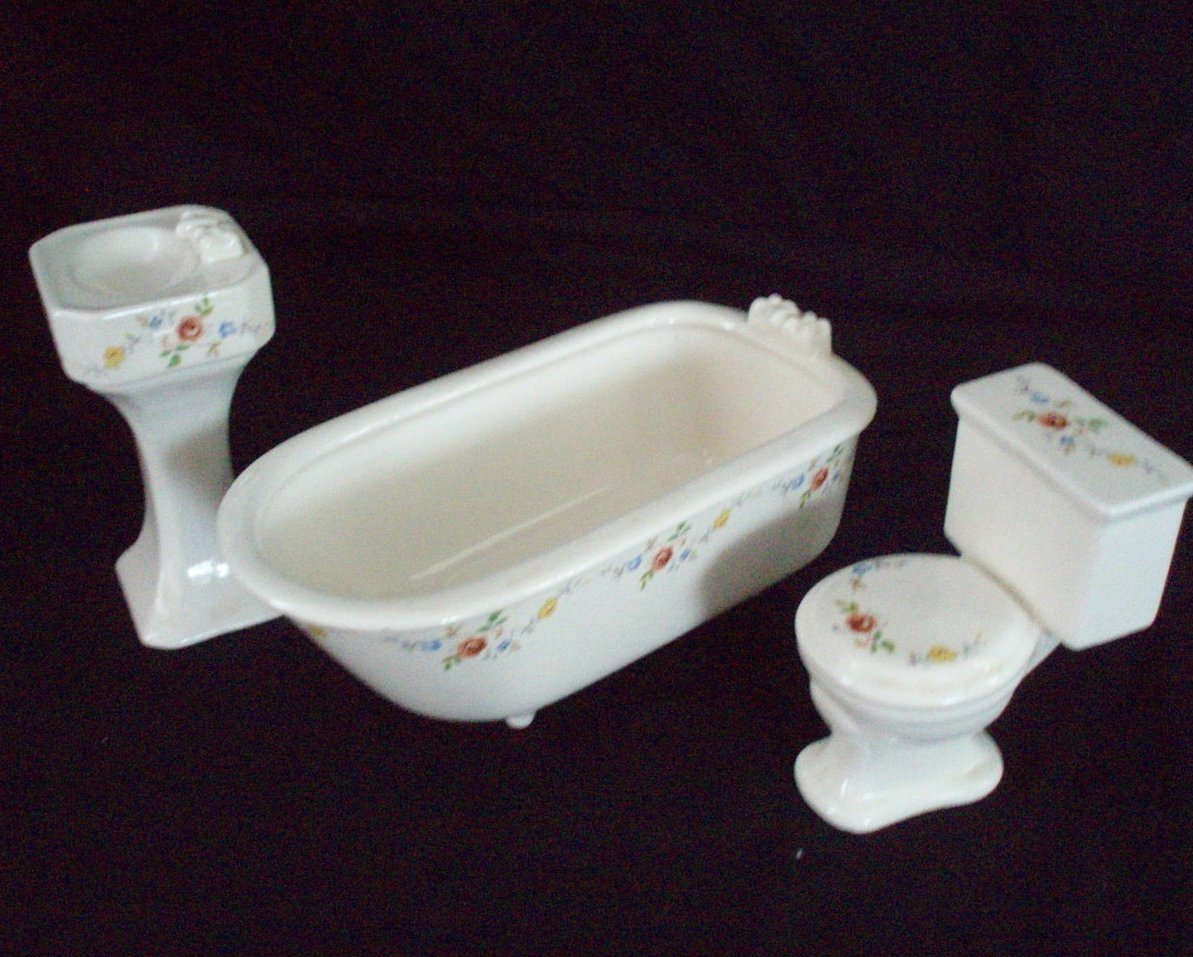 Dollhouse miniature bathroom set white Victorian porcelain