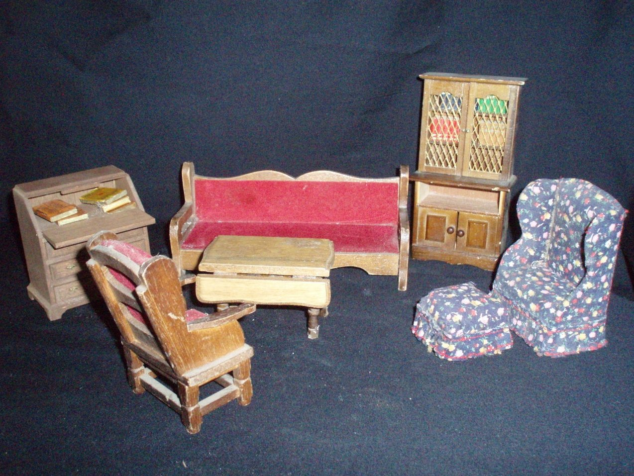 dollhouse furniture miniature lot den study living room VTG
