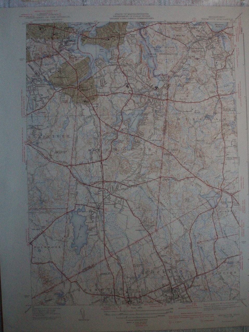 Weymouth MA US Geological Topography Map 1941