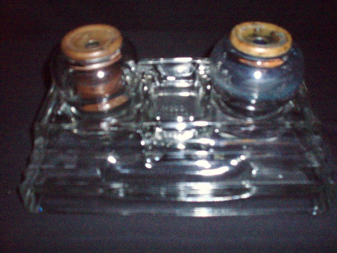 Sengbusch art deco double glass inkwells and base vintage
