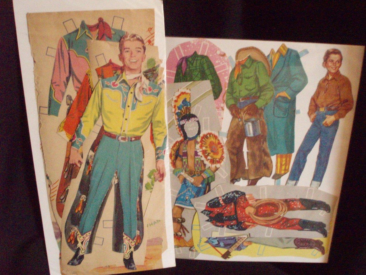 2 sets vintage cowboy paper dolls western male 1940s
