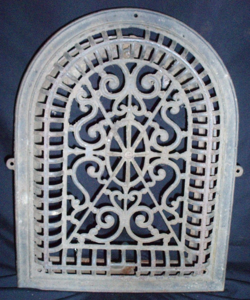 Antique Cast iron ornate grate and wall insert Victorian