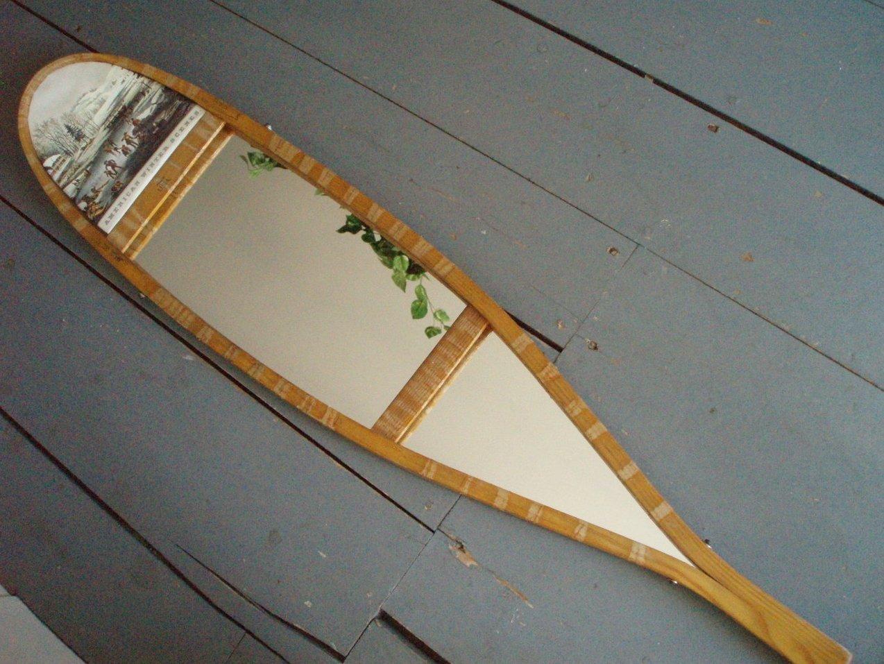 vintage wood snowshoe mirror w/Currier & Ives Print