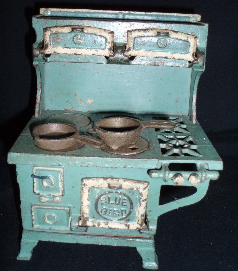 Antique Toy Blue Bird Cook Stove Cast Iron with Burners and Pots