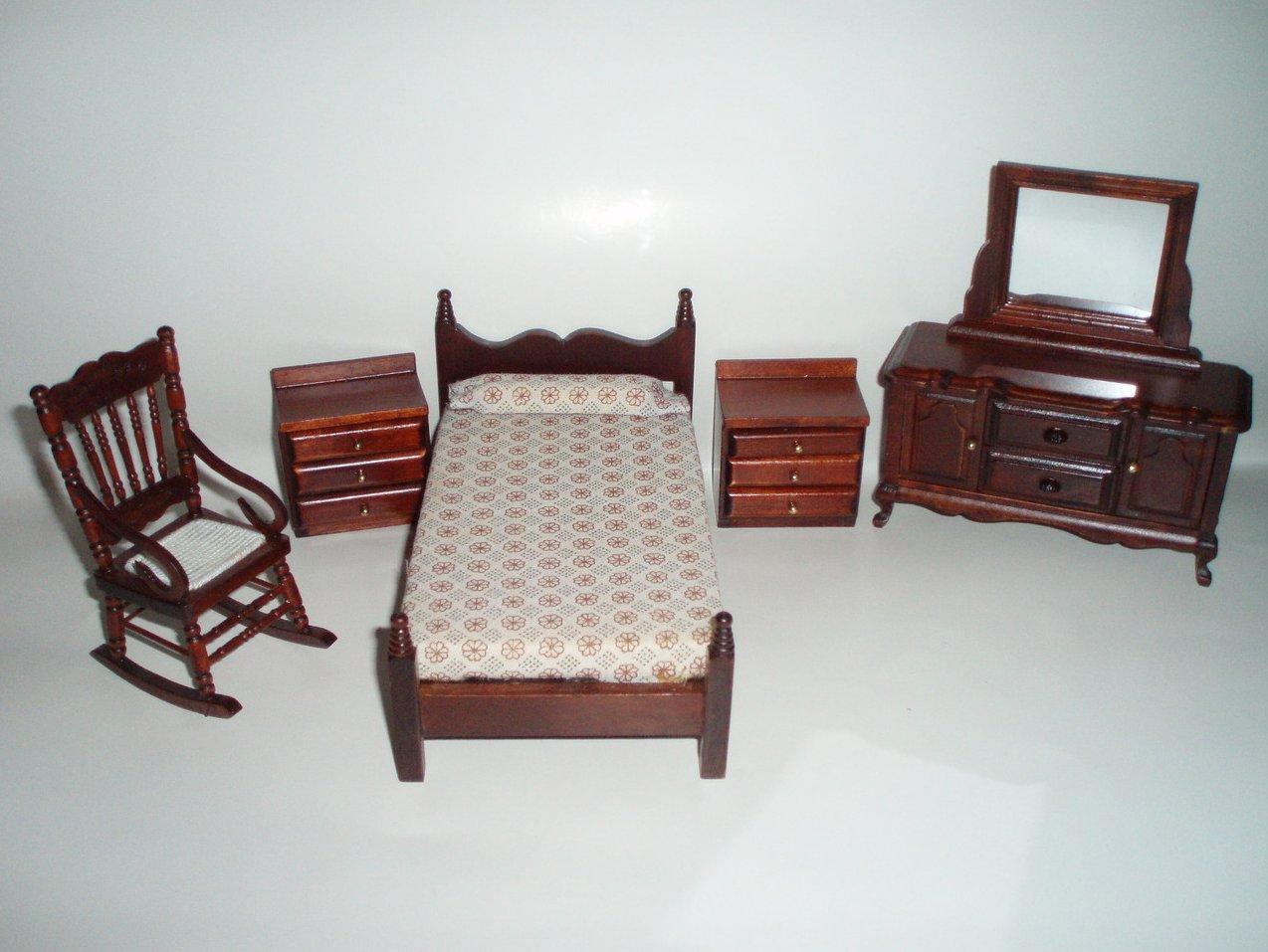 dollhouse miniature furniture 5 bedroom wood set