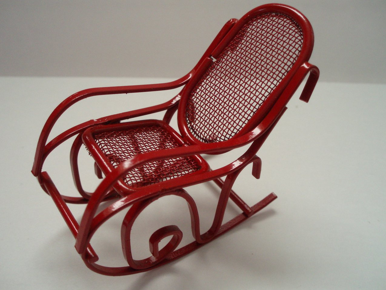 Dollhouse Miniature Childs Red Rocking Chair