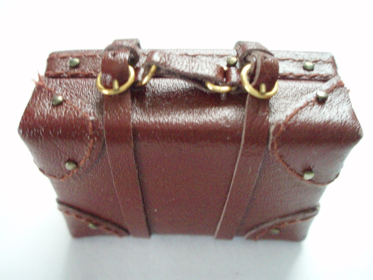 Dollhouse miniature leather luggage suitcase small