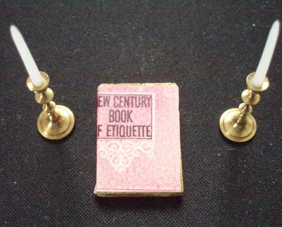 Dollhouse Miniature Brass candlesticks, candles and Etiquette Book
