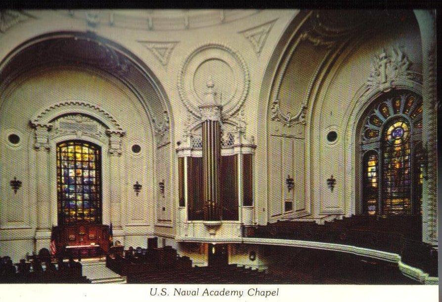Annapolis U.S. Naval Academy Interior Chapel Maryland Postcard