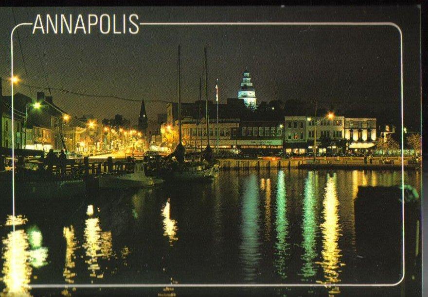 Annapolis Harbor at night Maryland Postcard