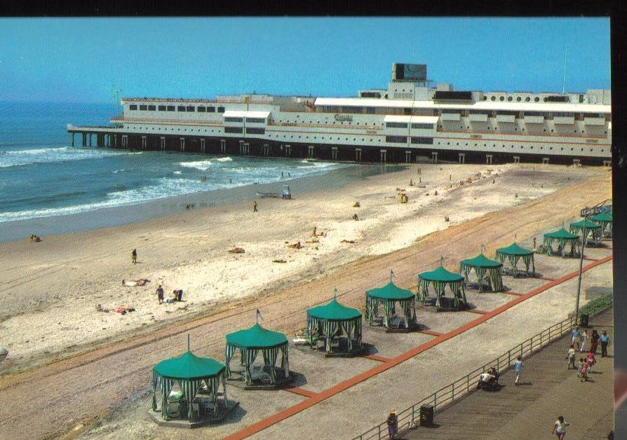 Ocean one pier atlantic city new jersey vintage postcard for Atlantic city fishing pier