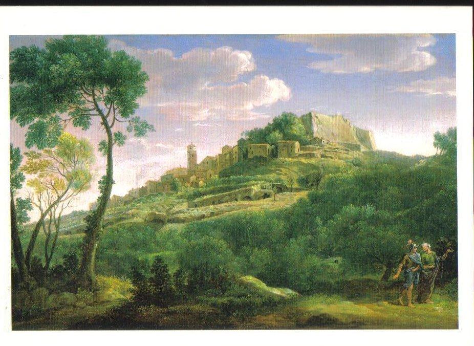 A Landscape with an Italian Hill Town Art Print Postcard