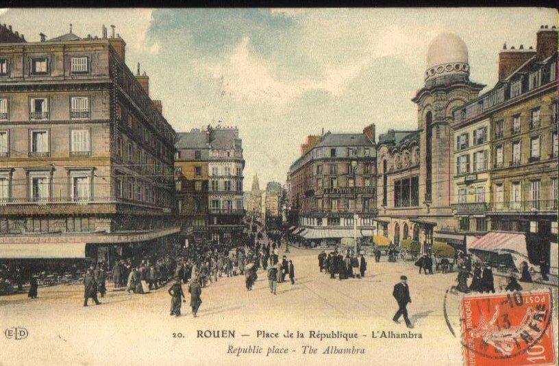Alhambra Place de la Republique Rouen Antique Postcard 1913
