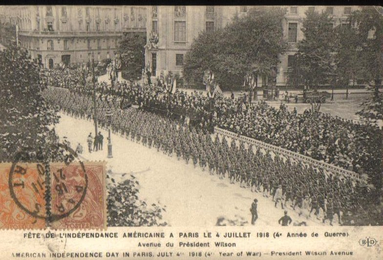 American Independence Day in Paris 1918 Antique Postcard