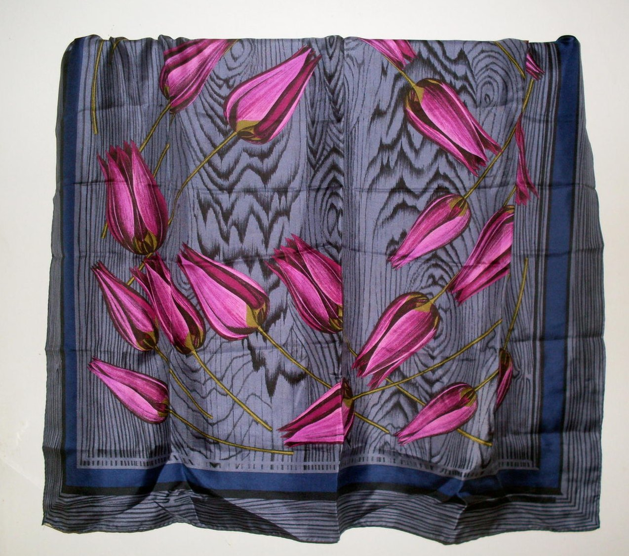 Perry Ellis Floral Print Silk Scarf Blue Gray Pink 35 Inch