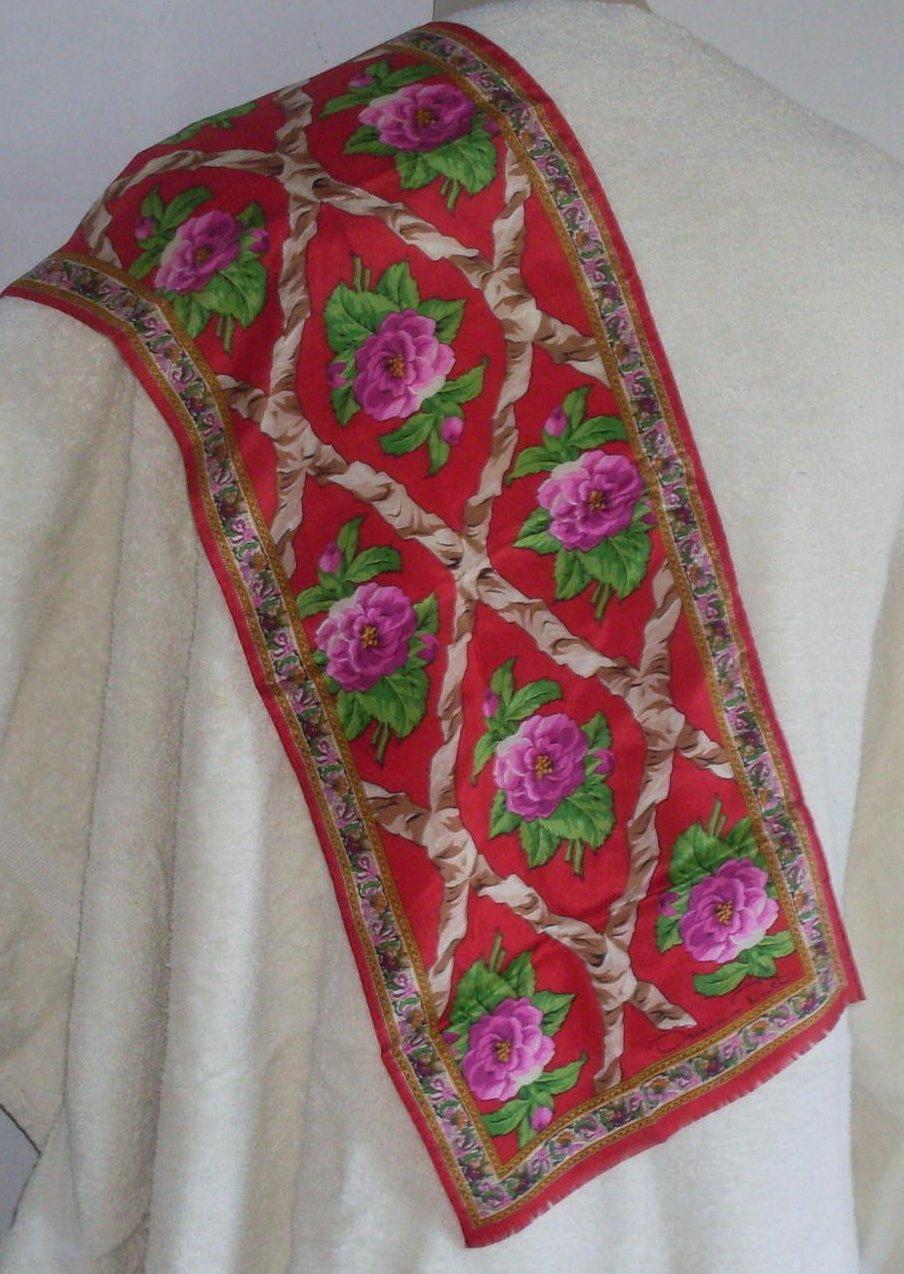 oscar de la renta peony silk scarf pink green
