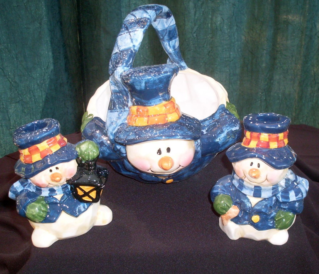Snowman Holiday Basket Bowl and Candlesticks Centerpiece