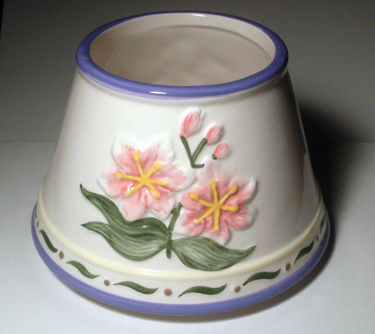 Ceramic Candle Jar Shade Floral French Blue White Pink