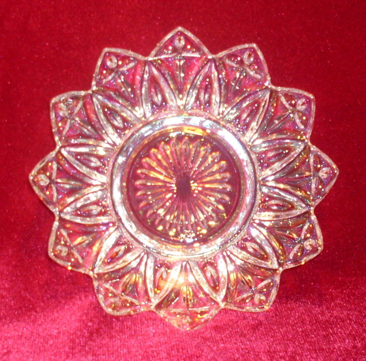 Federal Depression Glass Clear Petal Nut Candy Dish Oos
