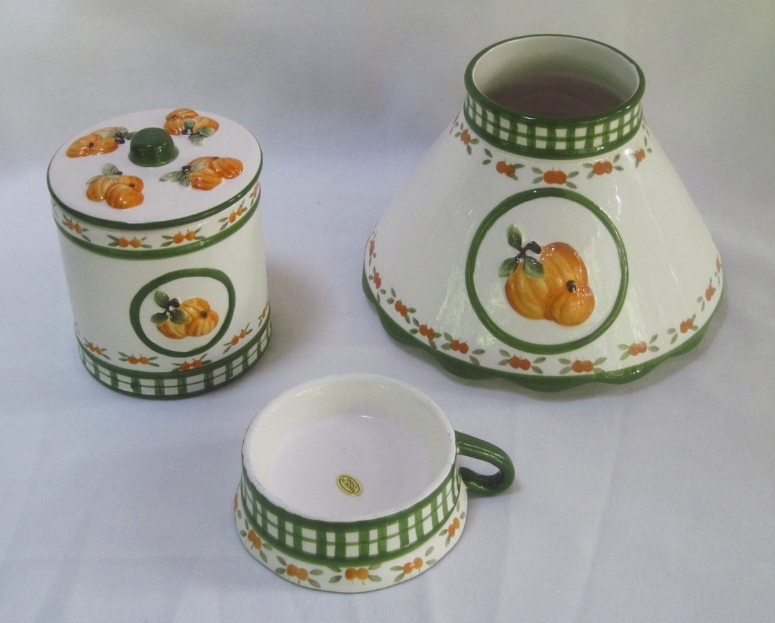Candle Shade and Holder Gingham Check Pumpkins 4 piece Set Autumn