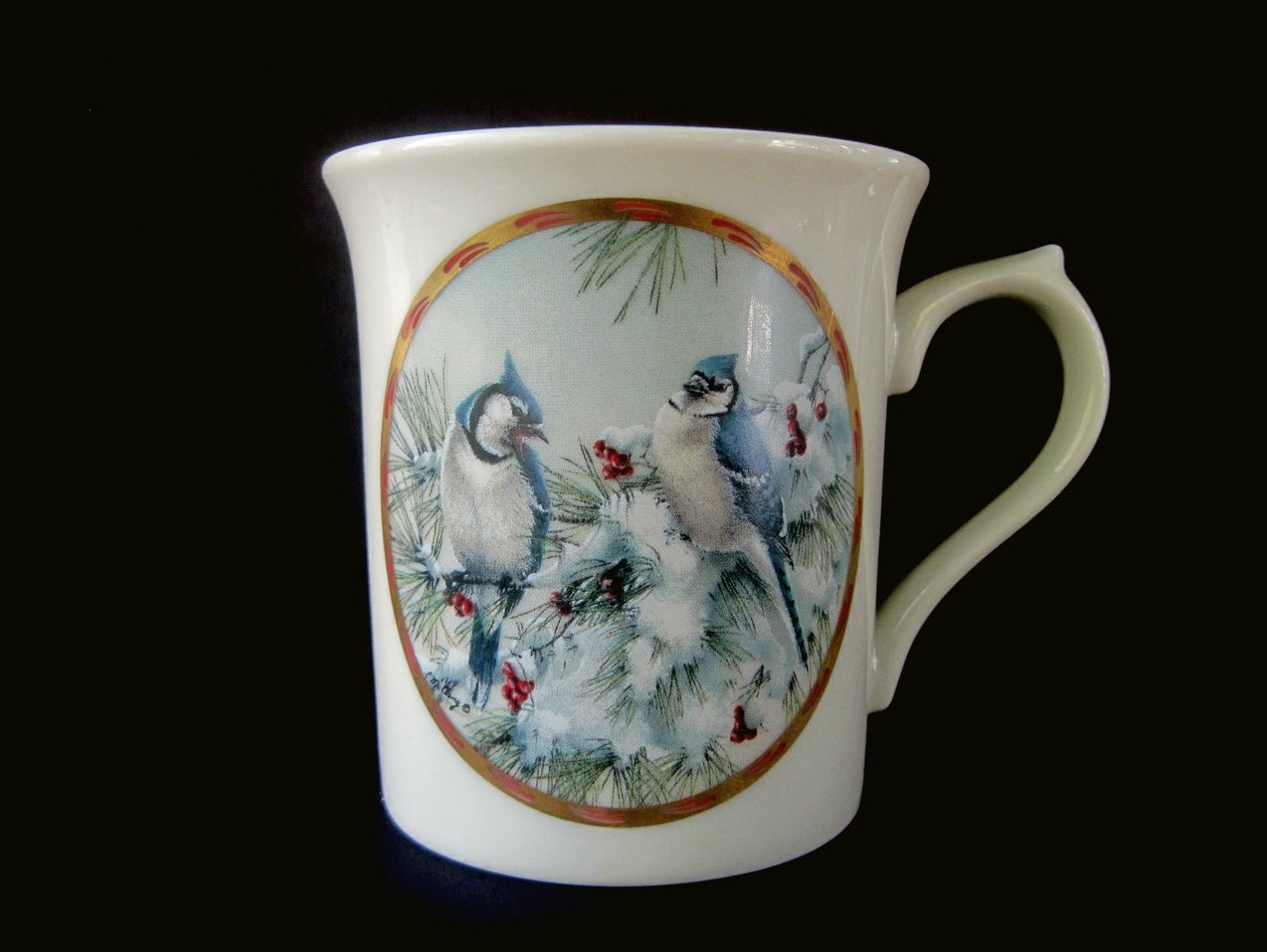 Lenox Natures Collage Birds 1994 Winter Song Mug