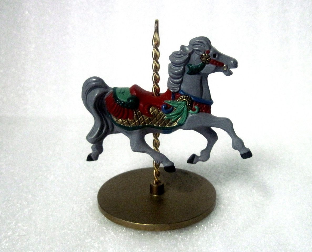 Holly Christmas Carousel Horse Series 1989 Hallmark Ornament