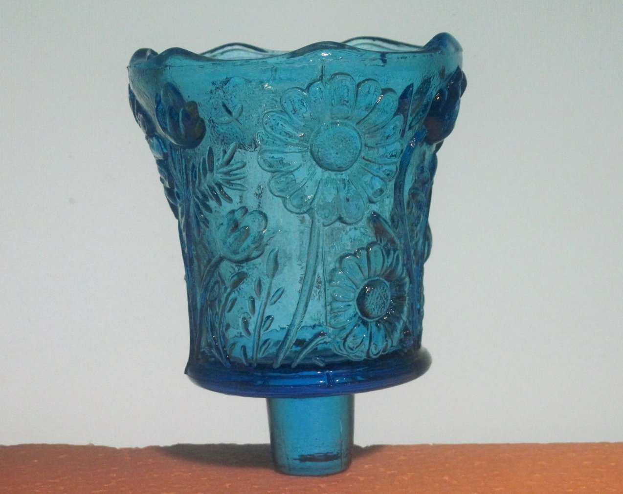 Home Interiors Peg Votive Candle Holder Bright Blue Daisy