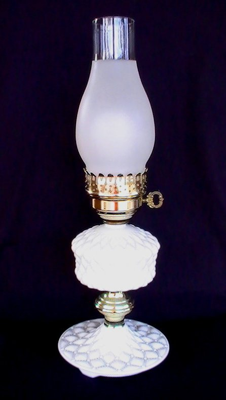 Vintage Quilted Milk Glass Hurricane Lamp 18 inches White