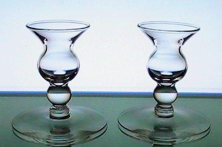 Candle Sticks Vintage Bulbous Dainty Clear Glass