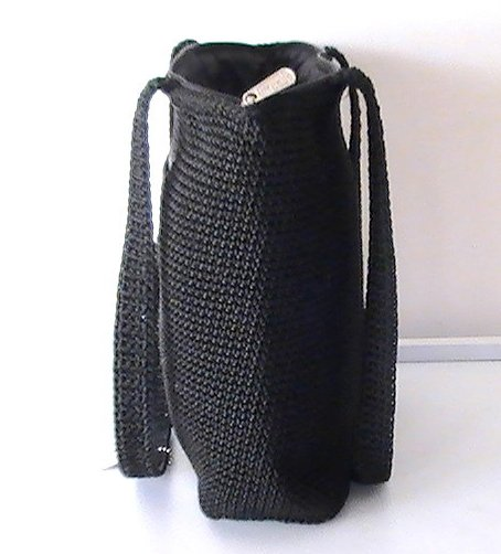 The Sak Black Crochet Handbag : THE SAK Shoulder Bag Black Double Strap Tote Crochet Handbag