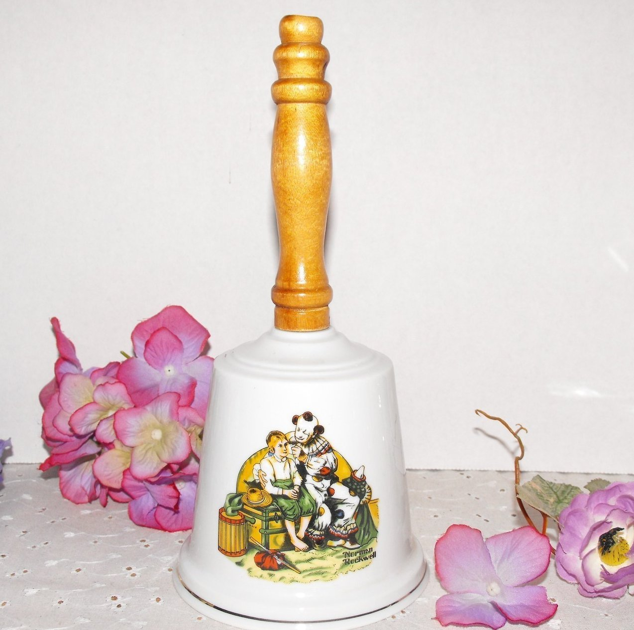Hand Bell Norman Rockwell Ceramic Wood Handle