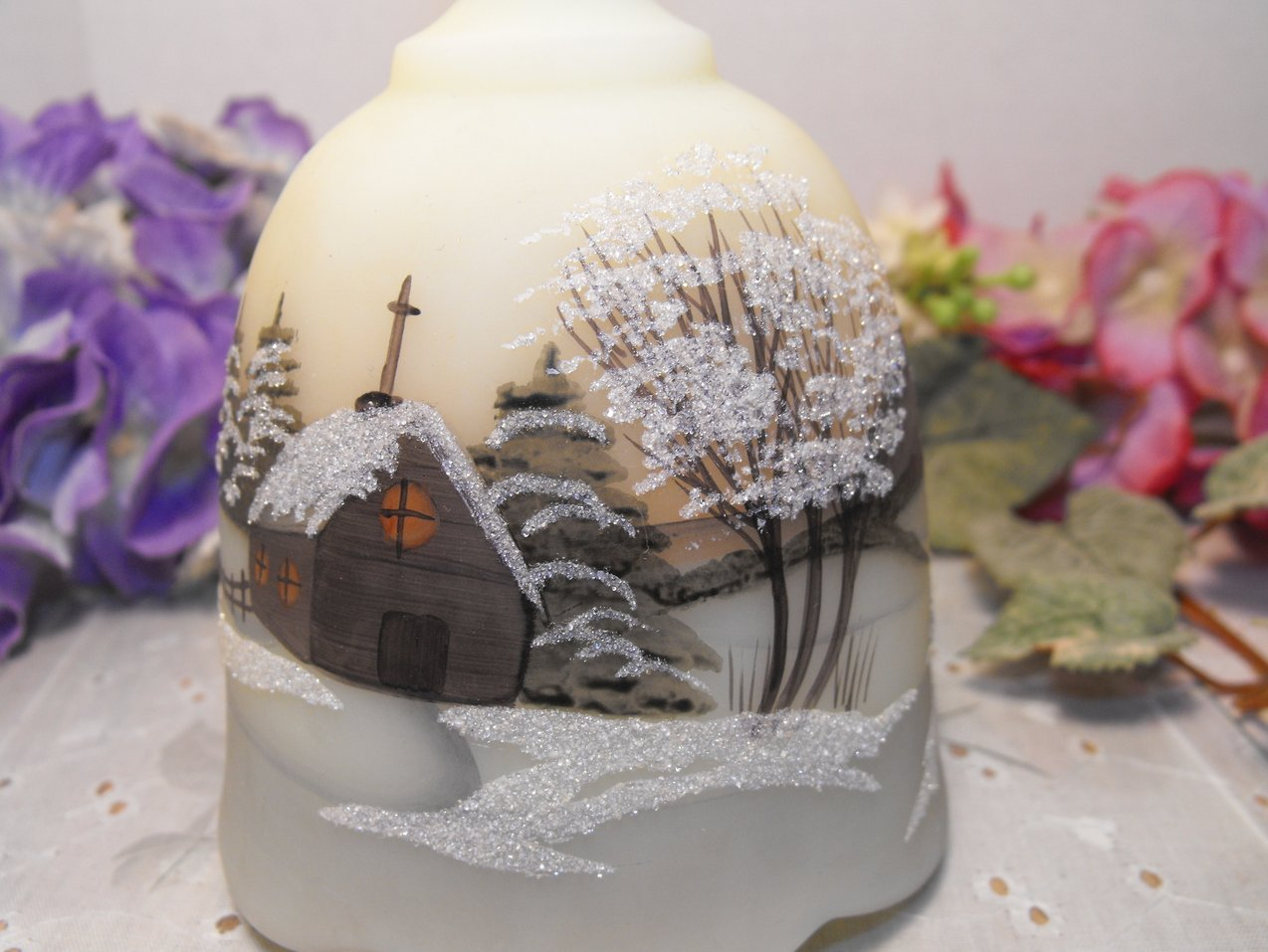 Vintage Bell Frosted Glass Hand Painted 1978 Signed by Artist