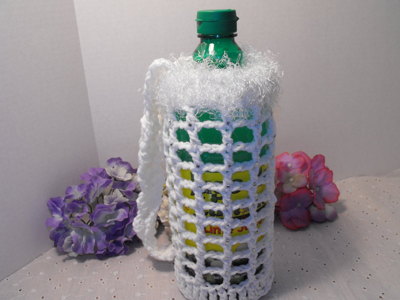 Crocheted Bottle Bag 20 oz Handcrafted Rhinestones White