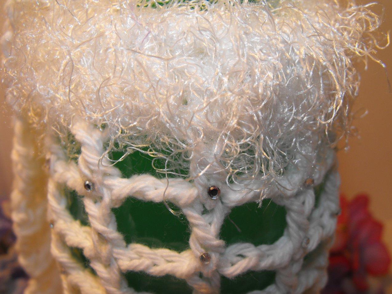 Image 1 of Crocheted Bottle Bag 20 oz Handcrafted Rhinestones White